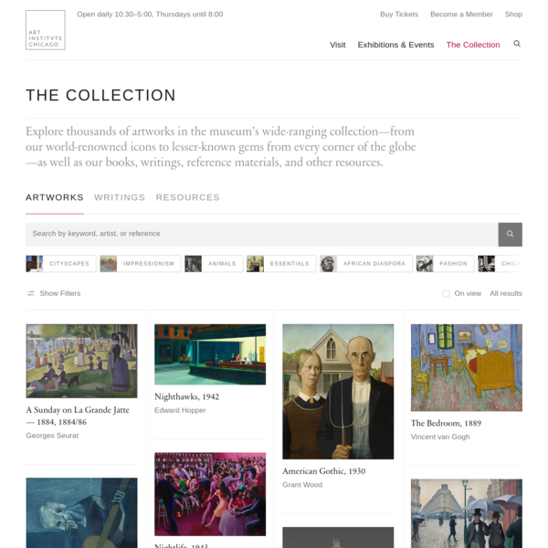 Explore thousands of artworks in the museum's wide-ranging collection-from our world-renowned icons to lesser-known gems from every corner of the globe-as well as our books, writings, reference materials, and other resources. Show Hide Filters On view All results