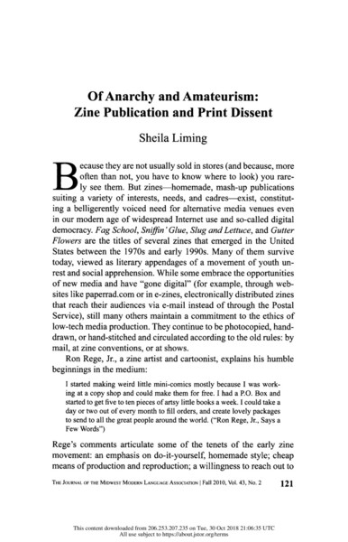 Of Anarchy and Amateurism: Zine Publication and Print Dissent