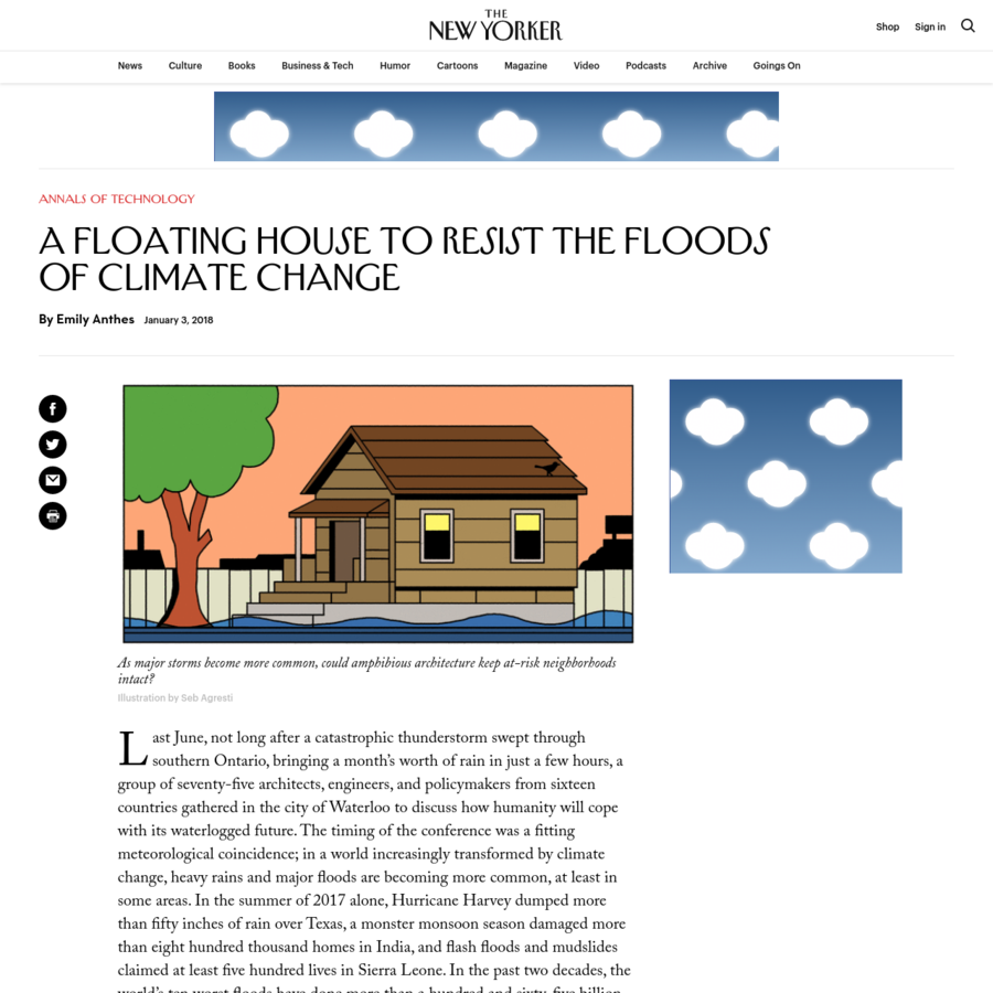 Emily Anthes explores amphibious architecture, which seeks simple, low-cost ways for buildings to withstand flooding-an increasing danger due to climate change.