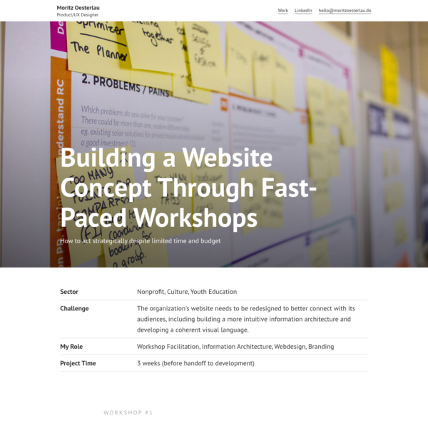 Building a Website Concept Through Fast-Paced Workshops