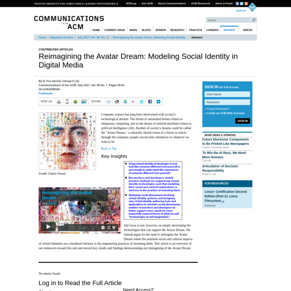 Reimagining the Avatar Dream: Modeling Social Identity in Digital Media