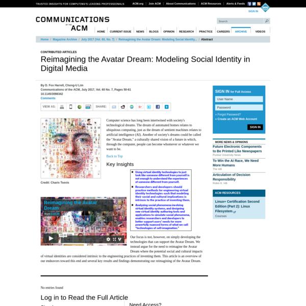 Reimagining the Avatar Dream: Modeling Social Identity in Digital Media