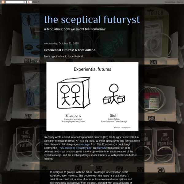 From hypothetical to hyperthetical... I recently wrote a short intro to Experiential Futures (XF) for designers interested in transiti...