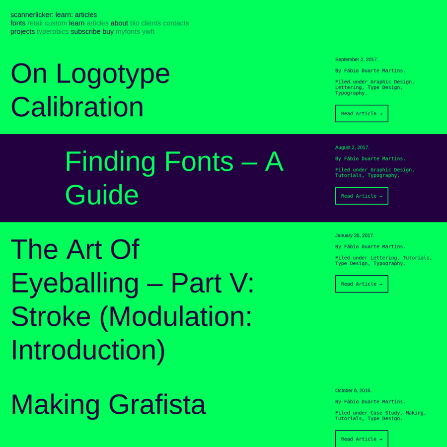 The blog of Scannerlicker font foundry, where you can find type-related articles, on type design, typography and graphic design.