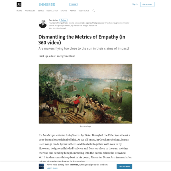 Dismantling the Metrics of Empathy (in 360 video) - Immerse