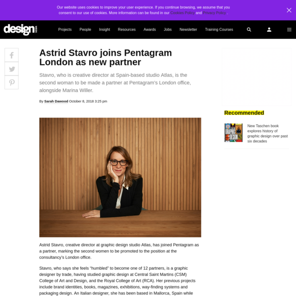 Stavro, who is creative director at Spain-based studio Atlas, is the second woman to be made a partner at Pentagram's London office, alongside Marina Willer.