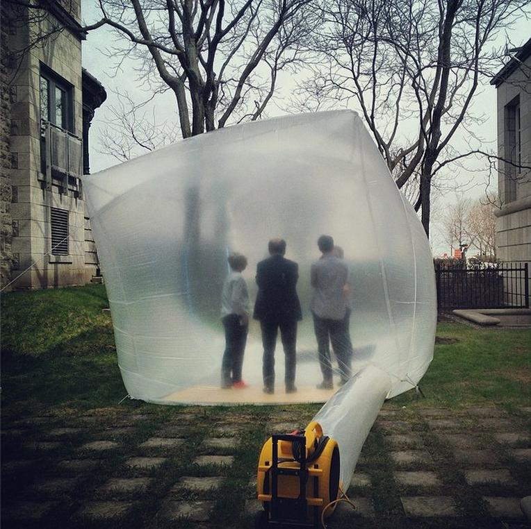 Jesse Seegers inflatable at CCA Montreal, with Mirko Zardini, Giovanna Borasi, Sebastian Lariviere inside