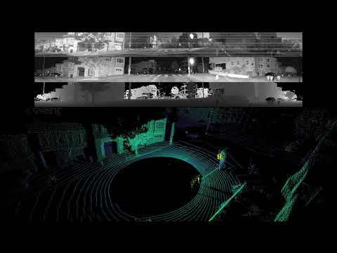 Ouster OS-1-64 generating LIDAR point cloud and 2D ambient, signal, and range images (Oblique View)