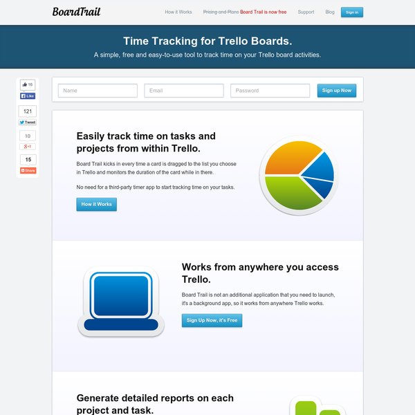 Board Trail is a simple time tracking tool for Trello used to monitor time worked on tasks and projects. Sign up now, no credit card required.