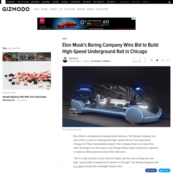 Elon Musk's underground transportation business, The Boring Company, has won a bid to create an underground high-speed rail line from downtown Chicago to O'Hare International Airport. The company beat out at least four other developers for the project, and Chicago Mayor Rahm Emanuel is expected to make an official announcement this afternoon.