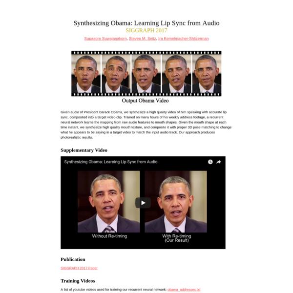 Synthesizing Obama: Learning Lip Sync from Audio