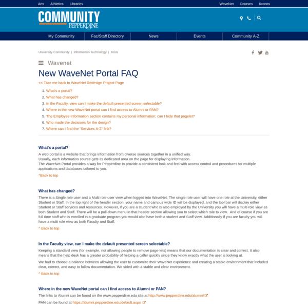 New WaveNet Portal FAQ | Pepperdine University | Pepperdine Community