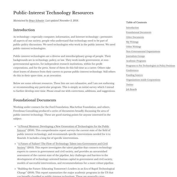 Public-Interest Technology Resources