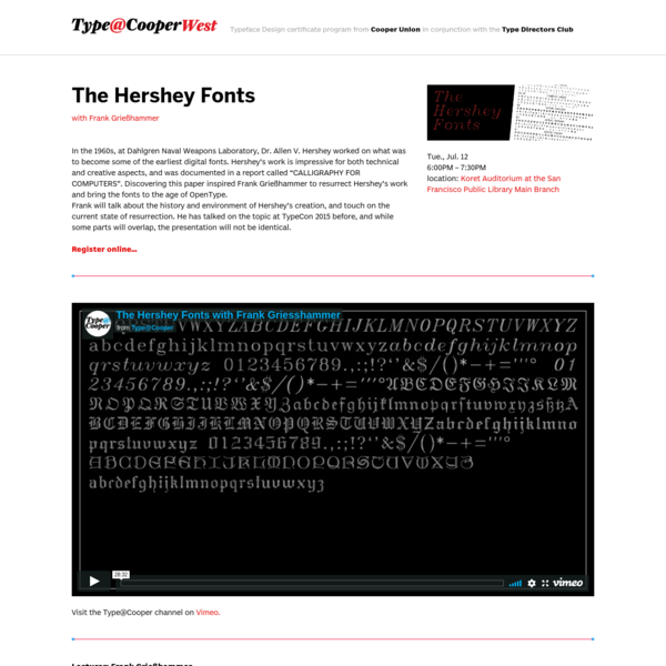 Type@Cooper: The Hershey Fonts with Frank Grießhammer