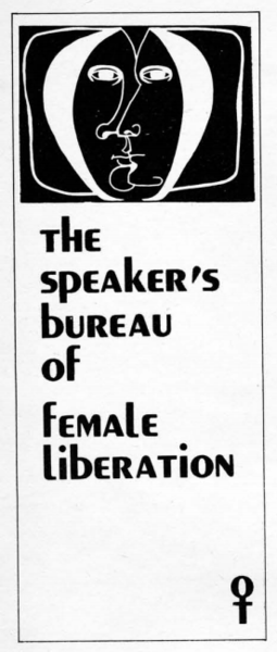 Speaker's Bureau of Female Liberation, New Woman's Survival Catalog, p18