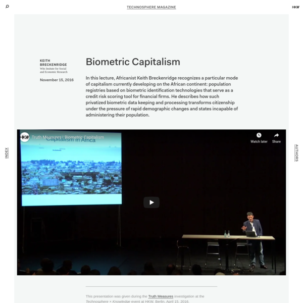 Technosphere Magazine: Biometric Capitalism