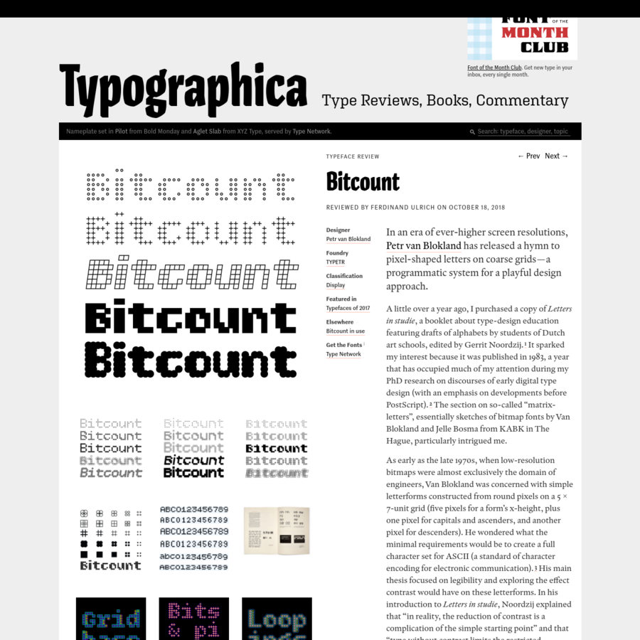In an era of ever-higher screen resolutions, Petr van Blokland has released a hymn to pixel-shaped letters on coarse grids-a programmatic system for a playful design approach. A little over a year ago, I purchased a copy of Letters in studie, a booklet about type-design education featuring drafts of alphabets...