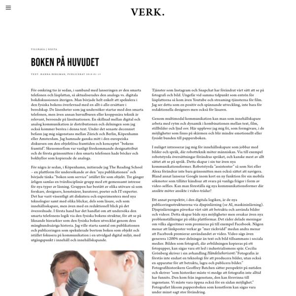 Boken på huvudet. Text: Hanna Bergman.