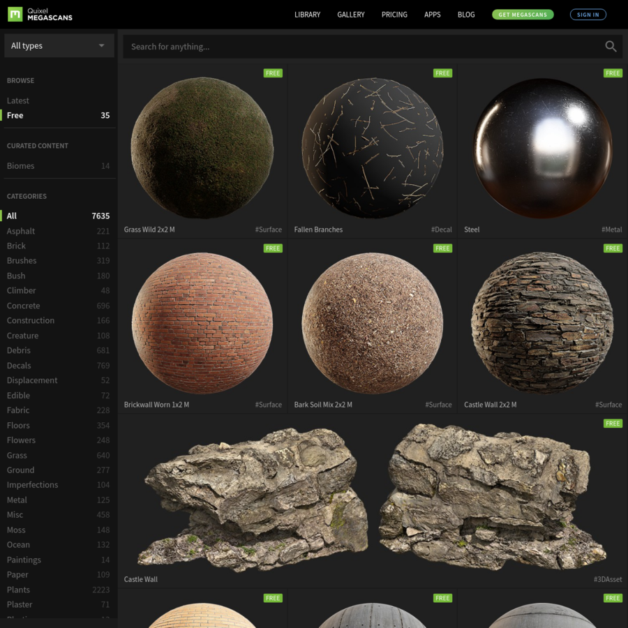 Megascans is the world's largest online scan resource, containing thousands of standardized and physically based surface scans, vegetation scans and 3d scans.