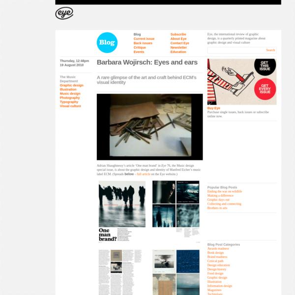 Eye Magazine | Blog | Barbara Wojirsch: Eyes and ears