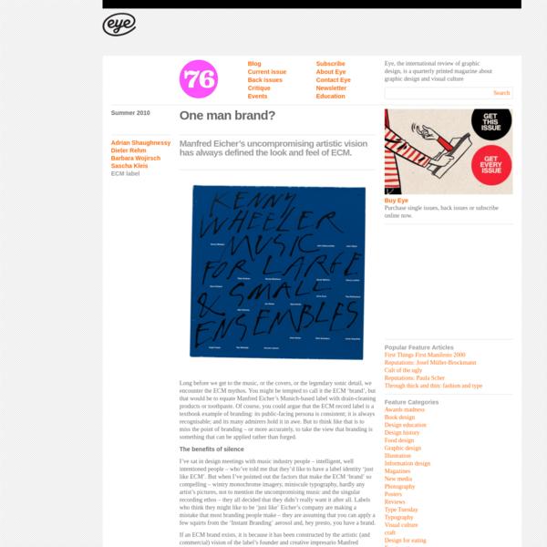 Eye Magazine | Feature | One man brand?