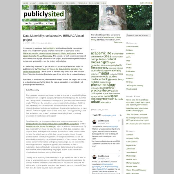 Data Materiality: collaborative BIRMAC/Vasari project