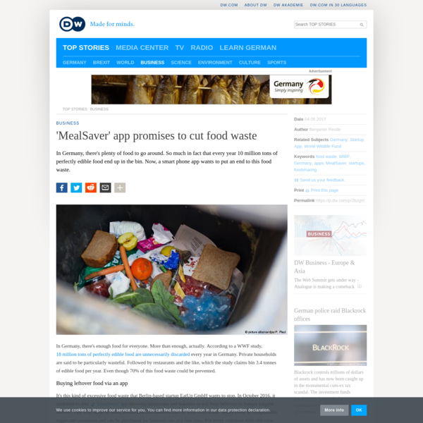 'MealSaver' app promises to cut food waste | DW | 04.05.2017