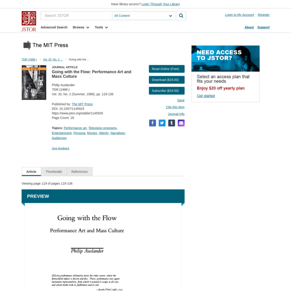 Going with the Flow: Performance Art and Mass Culture on JSTOR