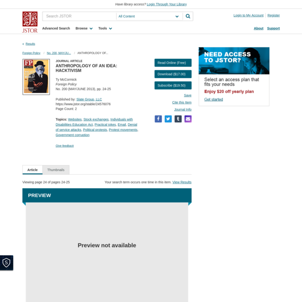 ANTHROPOLOGY OF AN IDEA: HACKTIVISM on JSTOR