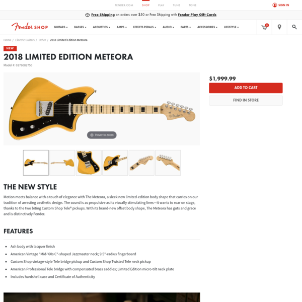 Limited Edition Meteora, Maple Fingerboard, Butterscotch Blonde