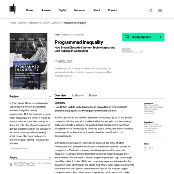 Programmed Inequality, Marie Hicks