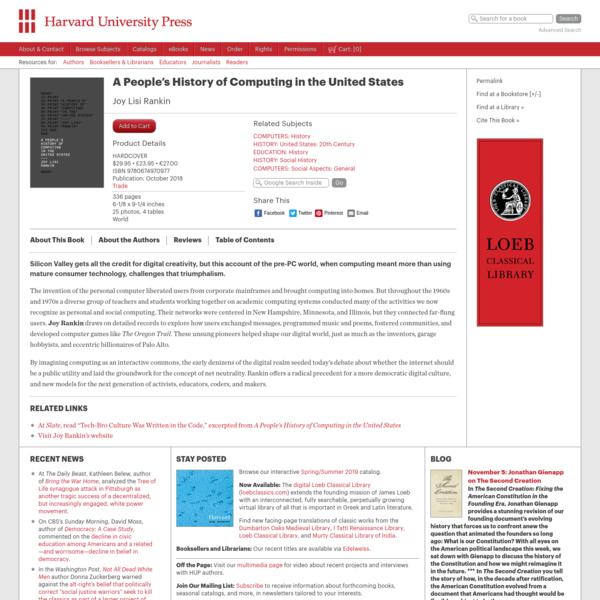 A People's History of Computing in the United States - Joy Lisi Rankin   Harvard University Press