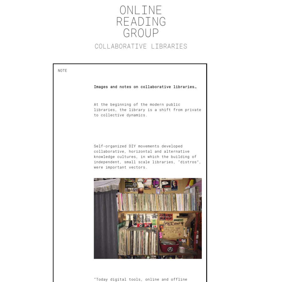 a collaborative library and collective reading space