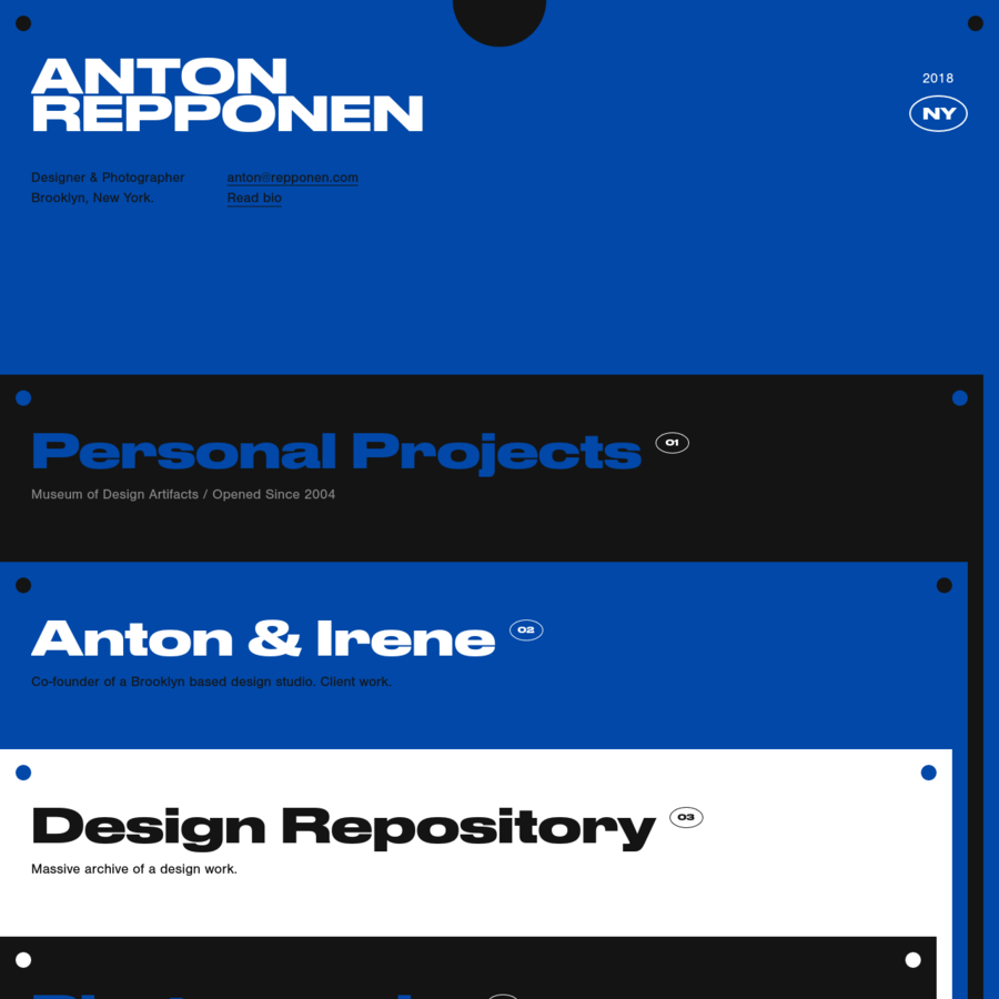 I'm a New York based interactive designer with architecture background. Solving problems and creating new visual languages is my favorite part of the job. My main focus is designing large scale web projects, design languages and tools that lots of people will use for a very long time.