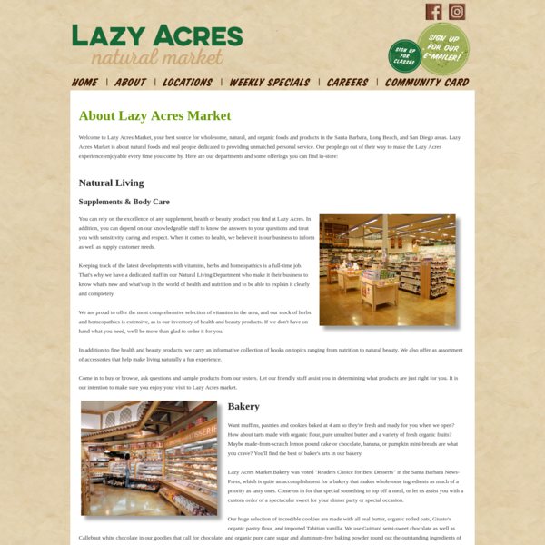 Lazy Acres Market | Long Beach & Santa Barbara Natural, Organic, Health Food Store