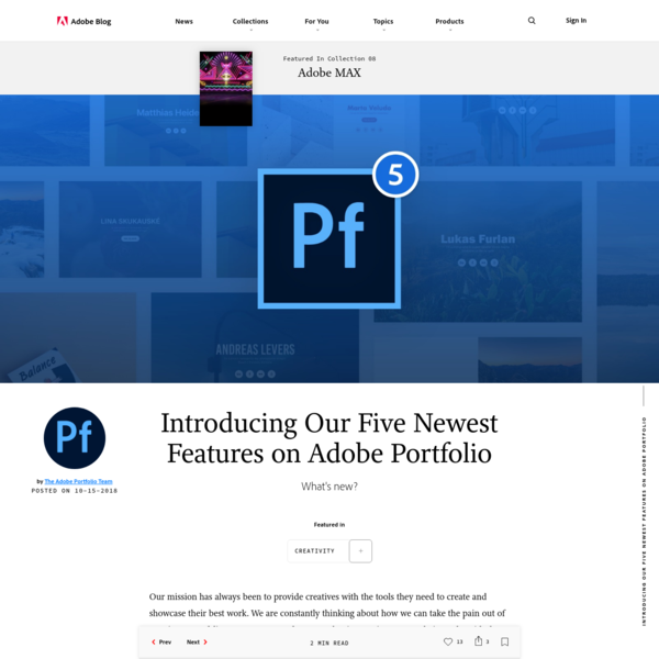 Introducing Our Five Newest Features on Adobe Portfolio | Adobe Blog