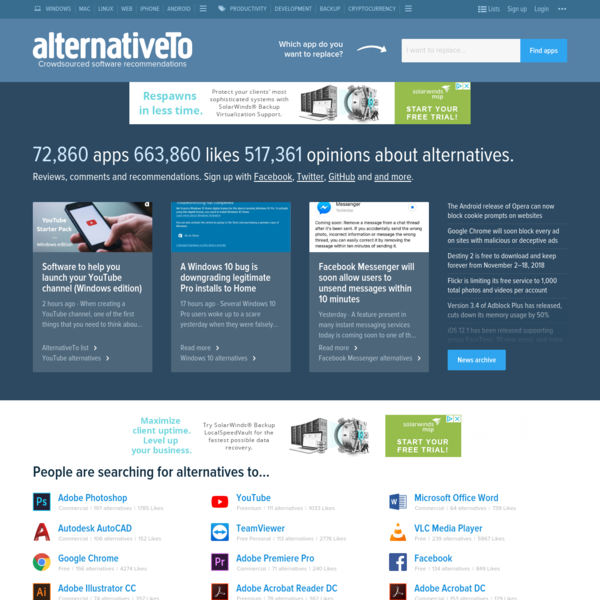 AlternativeTo lets you find apps and software for Windows, Mac, Linux, iPhone, iPad, Android, Android Tablets, Web Apps, Online, Windows Tablets and more by recommending alternatives to apps you already know.