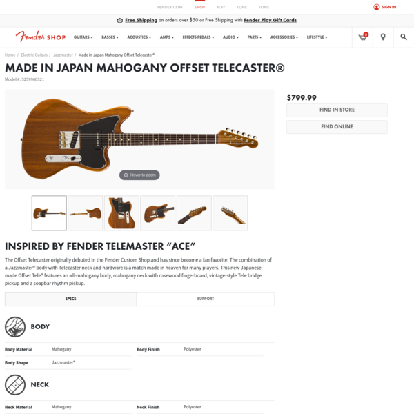 Made in Japan Mahogany Offset Telecaster® | Electric Guitars