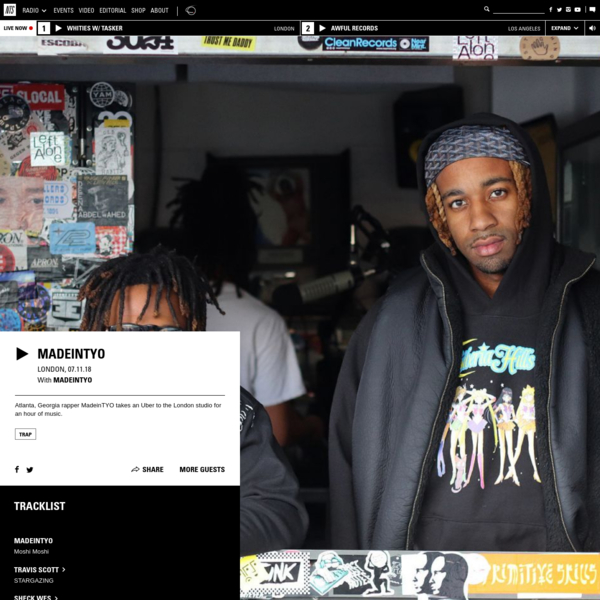 Playing Trap. Atlanta, Georgia rapper MadeinTYO takes an Uber to the London studio for an hour of music.
