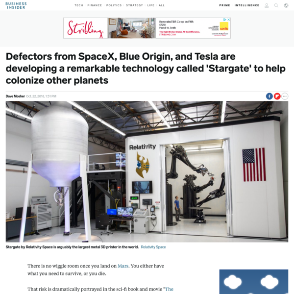While SpaceX works on giant reusable rockets to reach Mars, other companies are working on technologies to keep colonists alive on the red planet. Relativity Space has made the world's largest metal 3D printer, called Stargate, to print rockets, tools, and other useful objects off-Earth.