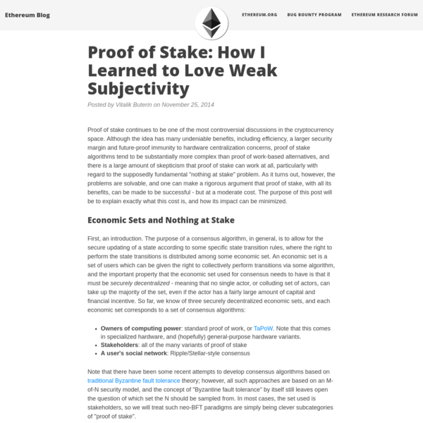Proof of stake continues to be one of the most controversial discussions in the cryptocurrency space. Although the idea has many undeniable benefits, including efficiency, a larger security margin and future-proof immunity to hardware centralization concerns, proof of stake algorithms tend to be substantially more complex than proof of work-based...