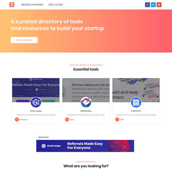 StartupStash - The curated directory of tools for your startup