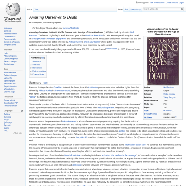 Amusing Ourselves to Death - Wikipedia
