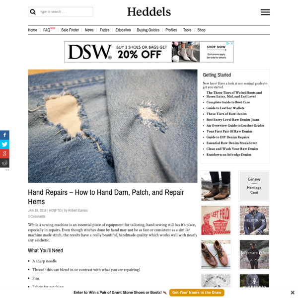 Hand Repairs - How to Hand Darn, Patch, and Repair Hems