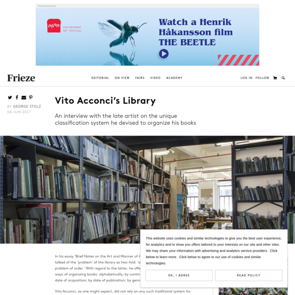 Vito Acconci's Library   Frieze