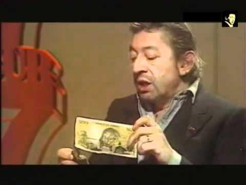 Gainsbourg brûle un billet de 500 Francs. .