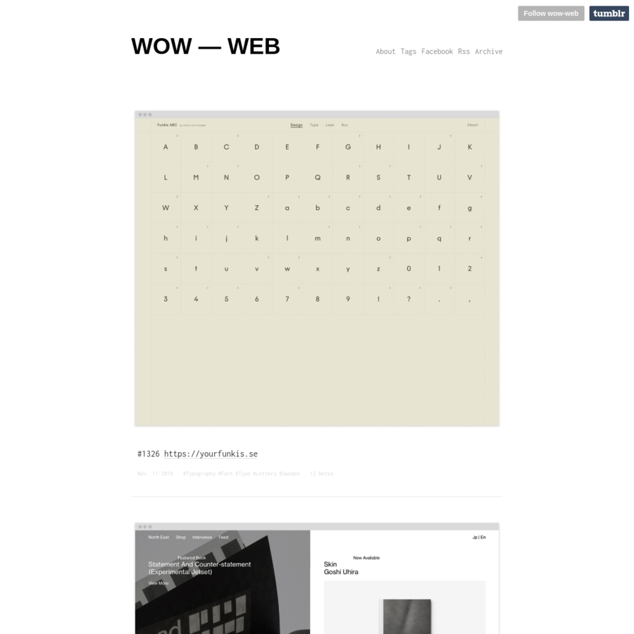 Managed by two graphic designers, wow-web is based on showcasing great works in web design for your delight & inspiration. DESIGN, USABILITY, WEBFONT, GRAPHIC DESIGN, TYPOGRAPHY, CREATIVITY, CONTENT,...