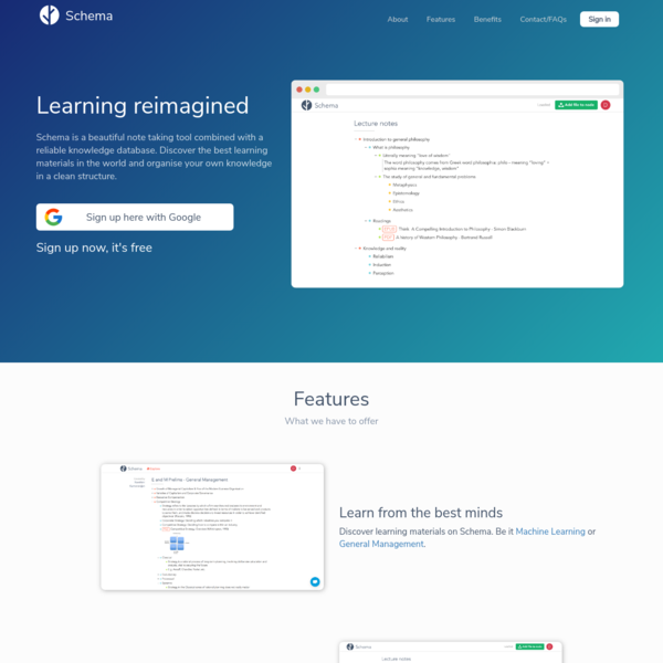 Schema: Organise, Share and Learn
