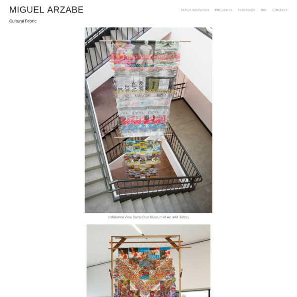 Miguel Arzabe's large-scale weavings are made from paper ephemera-posters, flyers, hand-outs-collected from art exhibitions. Drawing inspiration from both the traditions of indigenous textiles and modernist abstract painting, Arzabe's weavings are physical archives of cultural output and raise questions of authorship, labor, and how value is created.