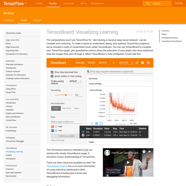 The computations you'll use TensorFlow for - like training a massive deep neural network - can be complex and confusing. To make it easier to understand, debug, and optimize TensorFlow programs, we've included a suite of visualization tools called TensorBoard.